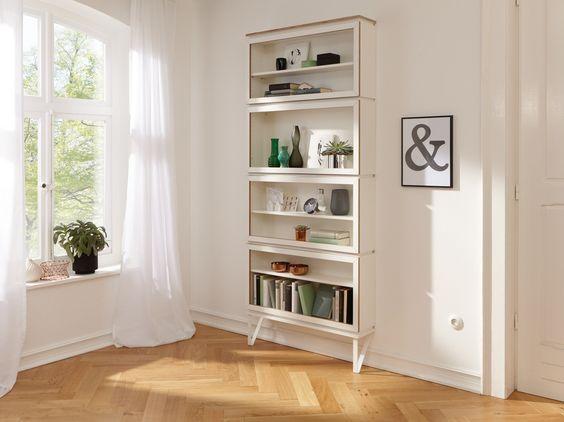 Sectional divider lacquered wooden storage wall SETUP by Müller Möbelwerkstätten…