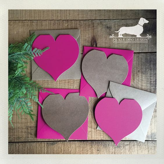 Heart. Folded Note Cards Set of 4  Valentine by PickleDogDesign