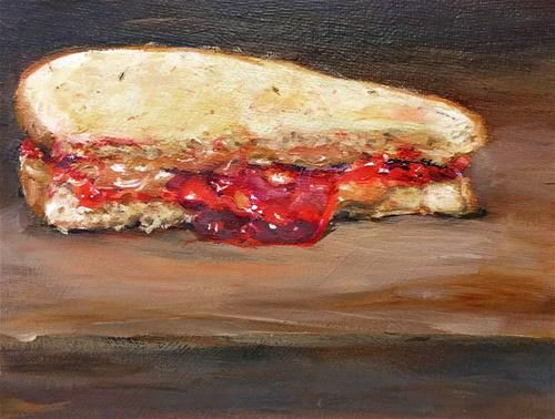 "Daily Paintworks - ""PB&J on Rye Toast (PB&J #25)"" - Original Fine Art for Sale - © Sunny Avocado"