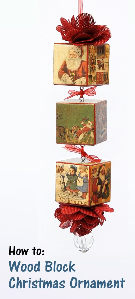 Wood blocks christmas ornament and ornaments on pinterest for Where to buy wood blocks for crafts