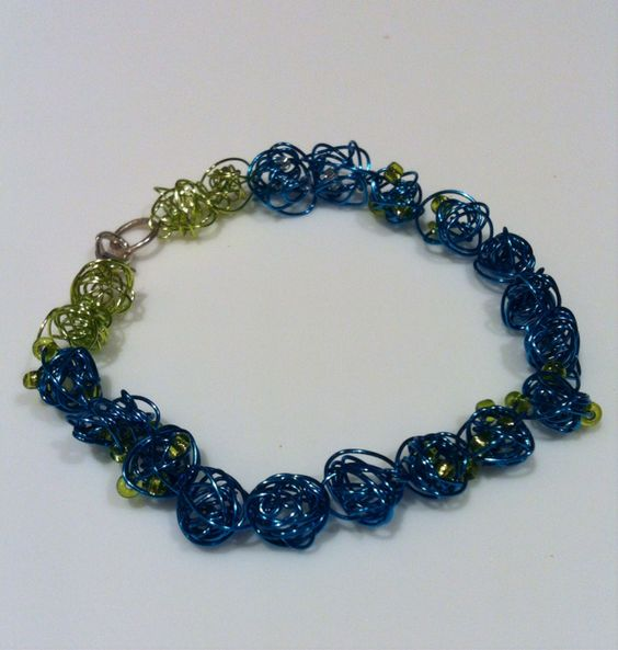 Blue and green handmade bracelet
