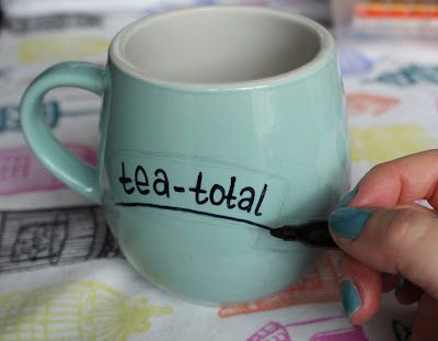 How to decorate plates and mugs with a sharpie marker. Fun and easy diy!