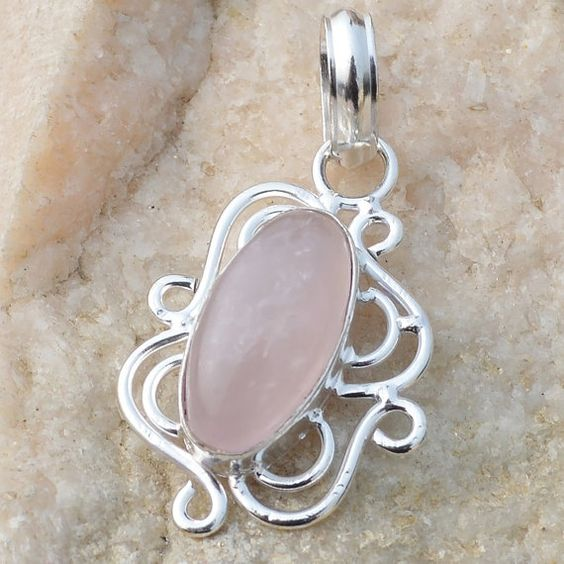Rose Quartz Gem Stone 925 Sterling Silver Plated by srggems, $14.00