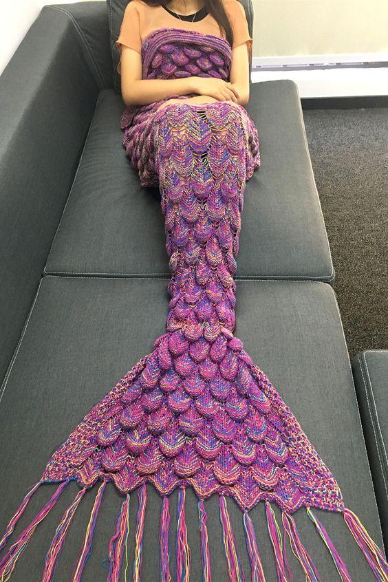 $21.23 Fashion Knitting Raised Fish Scale and Tassel Design Mermaid Shape Sofa Blanket