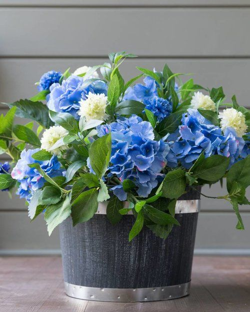 Outdoor Safe Faux Hydrangeas Add Style To Porches And Patios Or Inside Too Fauxplants Silkflorals Hydra Hydrangea Potted Artificial Flowers Outdoor Flowers