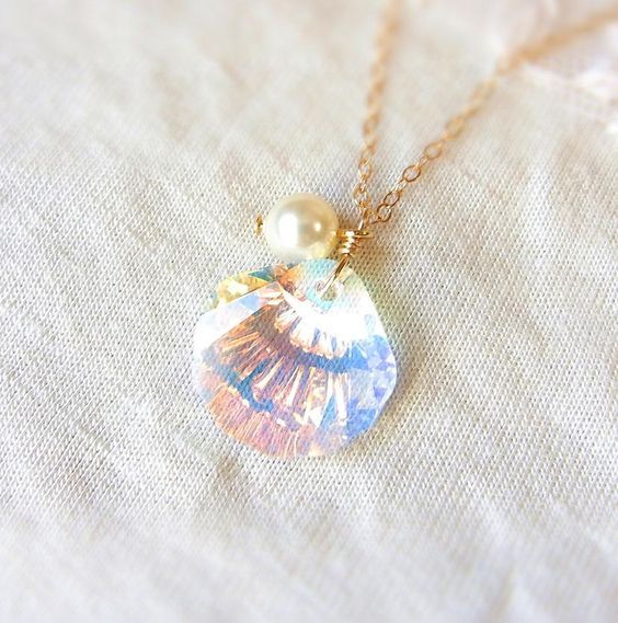Jewel of mermaid swarovski crystal seashell necklace in for Sell gold jewelry seattle