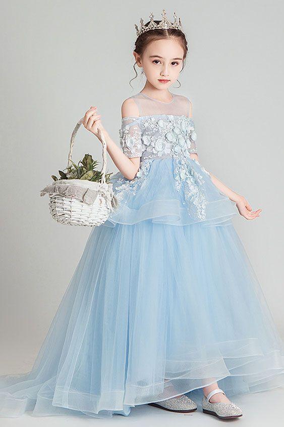 Kids Princess Flower Girl Dress Pageant Wedding Bridesmaid Cold Shoulder Dresses