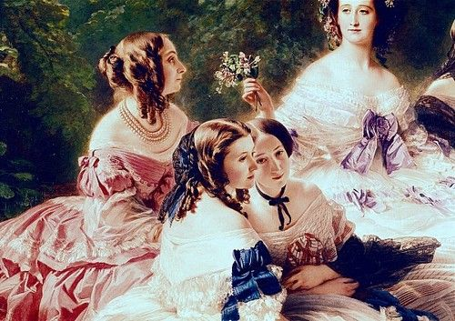 The Empress Eugénie Surrounded by her Ladies in Waiting - Detail by Franz Xaver Winterhalter (1855)