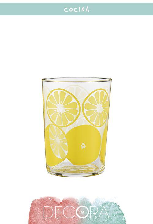 Vaso de agua limones, El Corte Inglés, 1,95€