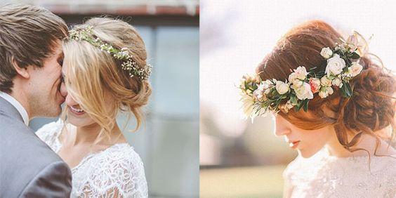 Coroncine di fiori per spose romantiche e un po' hippy.