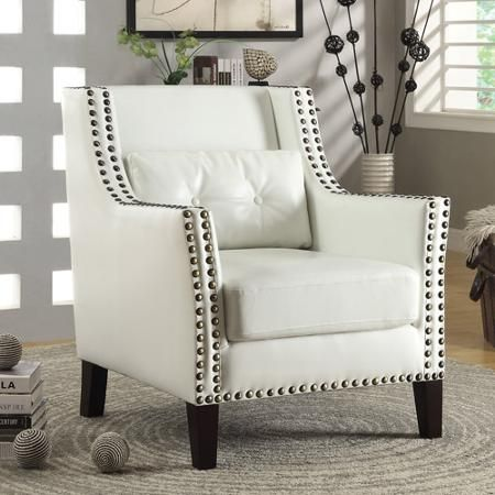 Coaster Traditional Leatherette Accent Chair, White