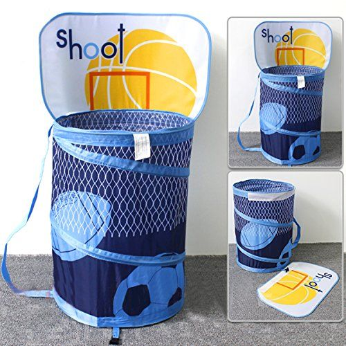 Ao Blare 14x19inch Basketball Hoop Toy Bucket Laundry Basket Clothes Hamper Toys Basket Storage Bucket Fold Storage Buckets Storage Baskets Toy Storage Baskets