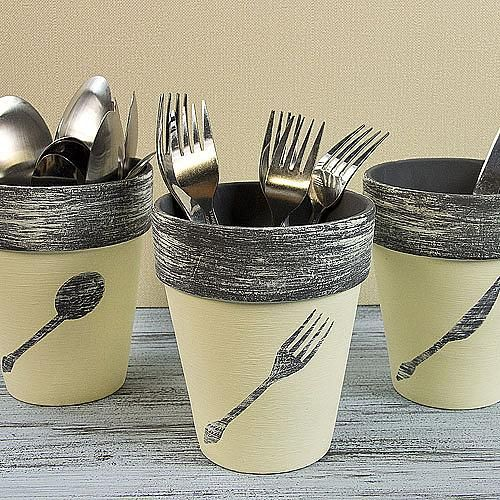 Utensil Terra Cotta Pots -- Stash flatware stylishly in terra cotta pots with a chalky finish.