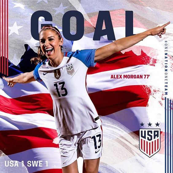 GOAAALLL! After Sweden scores, @alexmorgan13 finds the back of the net for the game-tying goal! #USAvSWE, 1-1