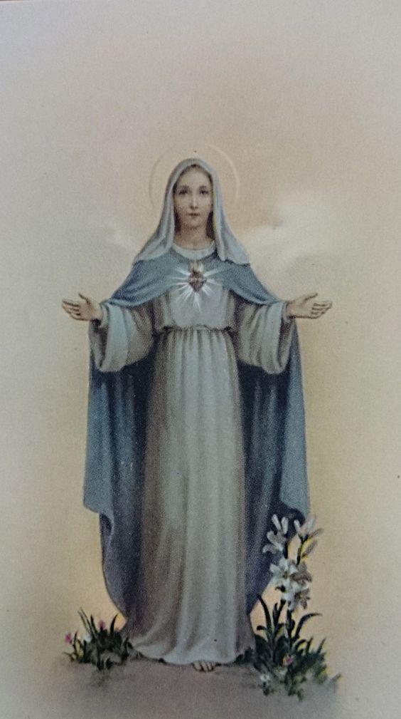 Estampa CORAZÓN DE LA VIRGEN MARÍA de 5,5 x 10 cm