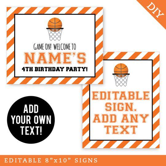 Basketball Party Signs Editable And Printable 8x10 Signs