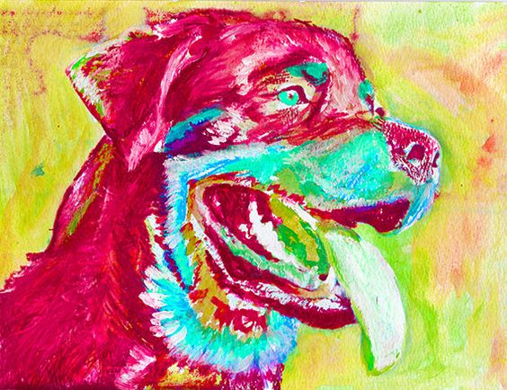Rottweiler owner gift, Rottweiler Dog wall print, Rottie dog painting, Colorful Rottweiler art, Abstract Rottweiler… #dogs #etsy #art