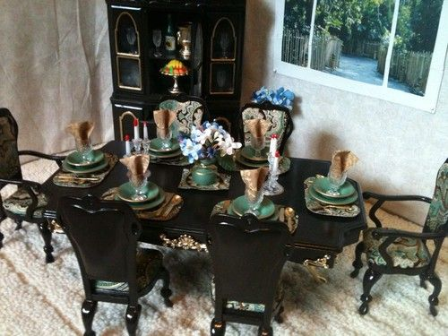 Ooak Barbie Ken Gi Joe Dining Room Furniture Diorama Hutch Accessories Kitchen