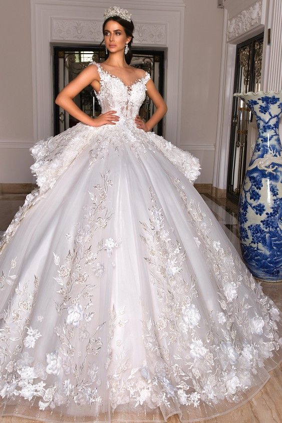 Details about  /Mermaid Wedding Dresses V Neck Chapel Train Tiered Organza Ruffles Bridal Gowns