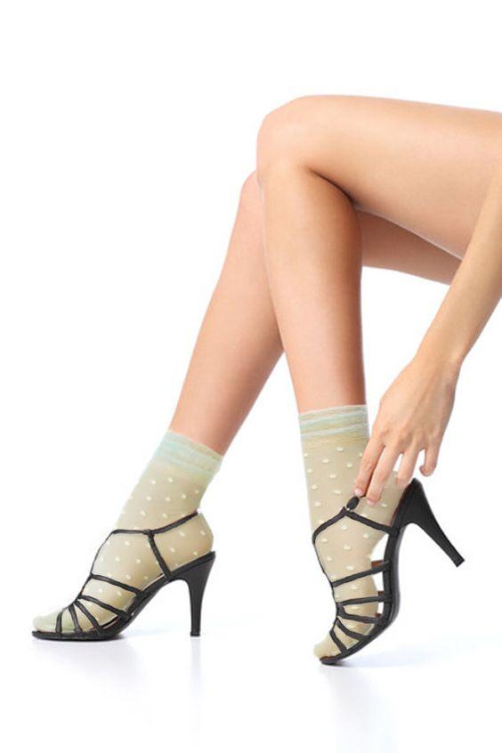 sage green sheer pola dot socks