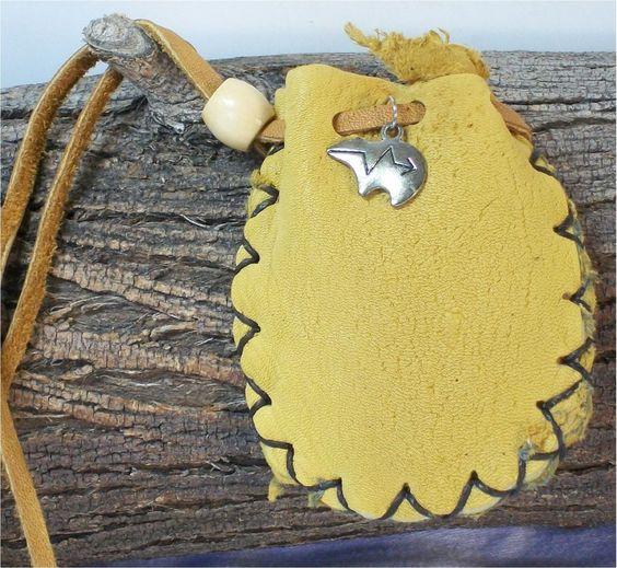 Zuni Bear Amulet Leather Medicine Sage Pouch, Stone, Spirit Bag, Mojo 3X2.5