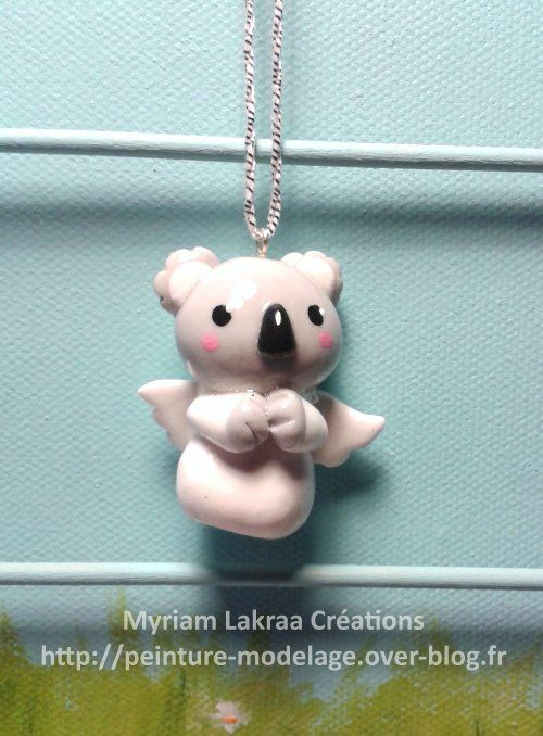 "Décoration de sapin ""koala ange"" (christmas ornament) - Pâte polymère Fimo (polymer clay) - 2014 - Myriam Lakraa Créations"