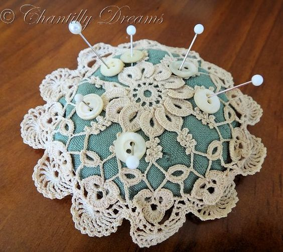 Antique Victorian Hand Crocheted Pin Cushion