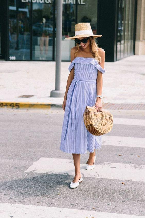 Spring blue and white midi dress, off the shoulder, cult gaia bag, wide brim hat, chanel ballet flats