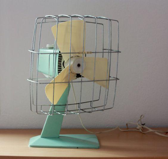 Grand ventilateur vintage Calor vert menthe eau 1960 , oscillant 2 vitesses, en état de marche, ventilo, climatiseur d'été, chaleur été
