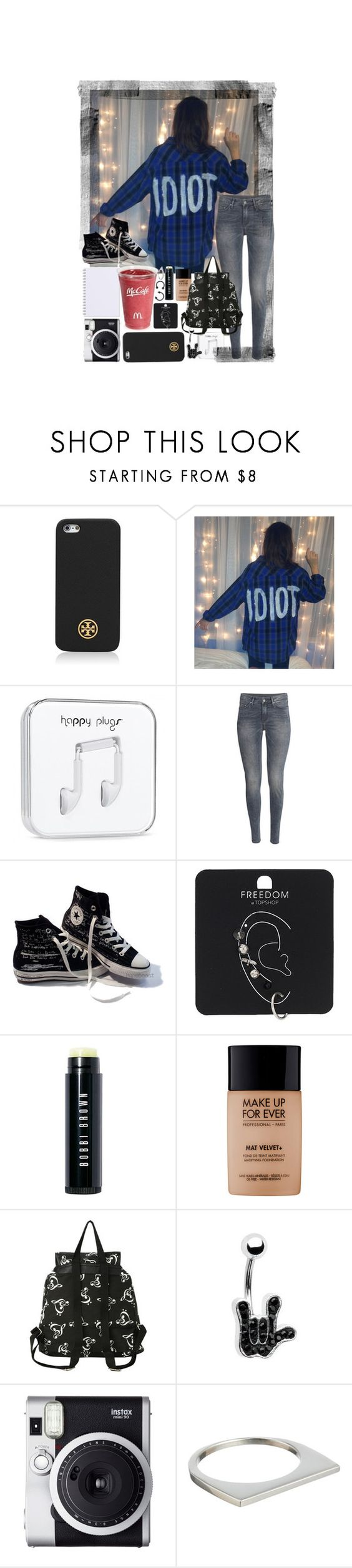 """Take a piece of my heart, and make it all your own. So when we're apart you'll never be alone."" by directioner-16-17 ❤ liked on Polyvore featuring Tory Burch, H&M, Converse, Topshop, Bobbi Brown Cosmetics, MAKE UP FOR EVER, Fuji and Loren Stewart"