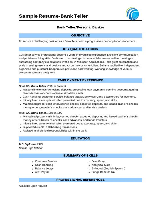 Bank Teller Resume Samples