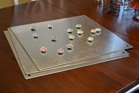 fabric covered magnetic board - and make cute magnets...