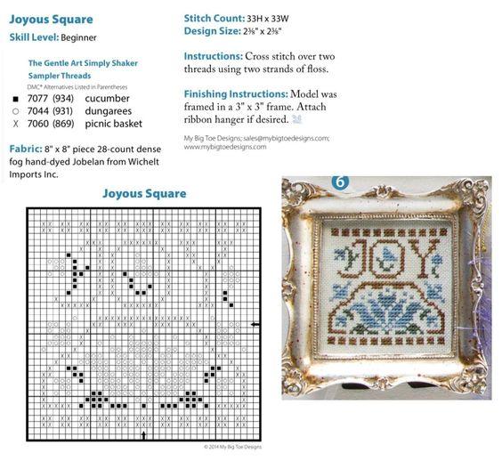 Cross Stitch XS Joyous Square,  Just Cross Stitch Christmas Ornaments 2014, Vol. 32, No. 6 - My Big Toe Design