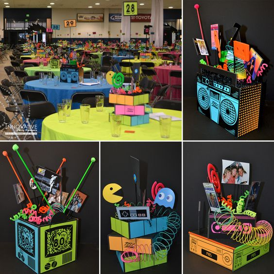 1980s centerpieces for a corporate 30th anniversary held for 1980s decoration