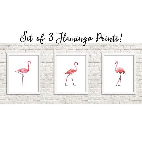 VERKAUF-Satz von 3 rosa Flamingo Ausdrucke von SweetLittleOnesShop