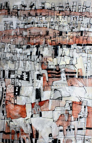 """""""Sitios fragmentados"""" Magda Córdoba Técnica: Acrílico sobre tela Medidas: 69 x 97 cm Año: 2012"""