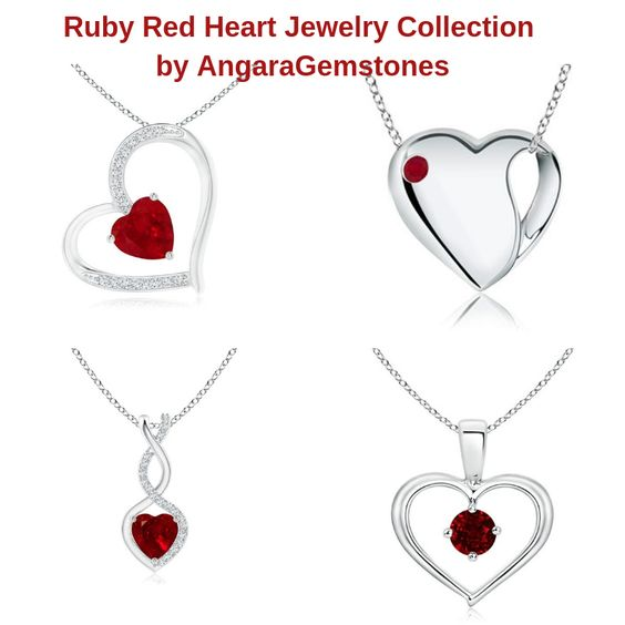 Ruby Red Heart Jewelry Collection by AngaraGemstones
