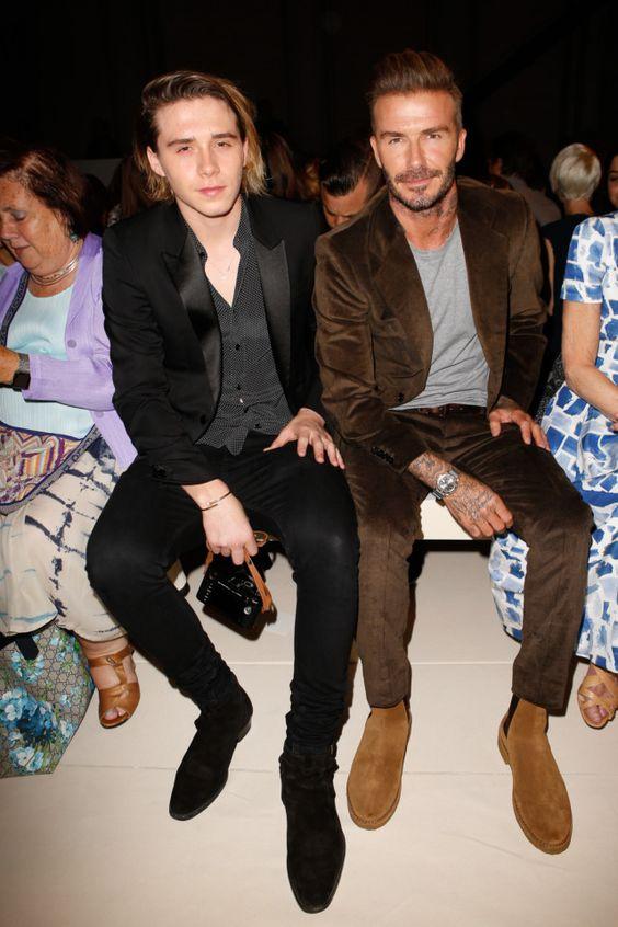 Brooklyn and David Beckham attend the Victoria Beckham ...