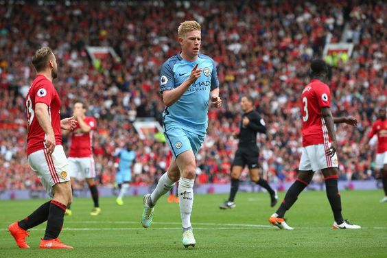 Manchester  United 1 Manchester City 2 : Kevin de Bruyne celebrates opening the scoring after 15 minutes in the derby after a mistake by United's Daley Blind