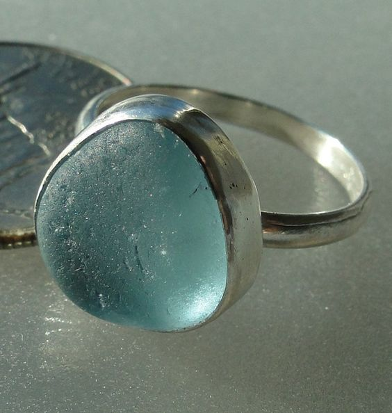 hlseaglassjewelry-vcm - BABY BLUE BEZEL ENGLISH SEA GLASS RING