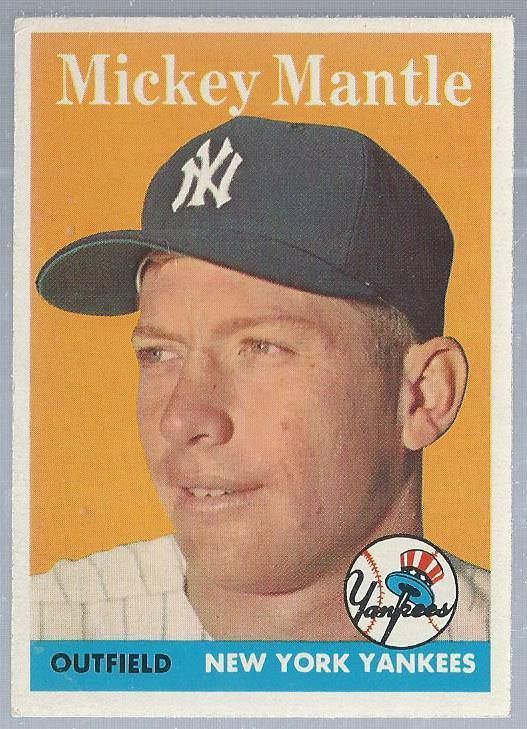 1958 Mickey Mantle Topps Baseball Card New York Yankees Yankees Newyorkyankees Baseball Cards Baseball Card Values Mickey Mantle
