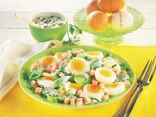Eier-Lauch-Salat mit Schinken -