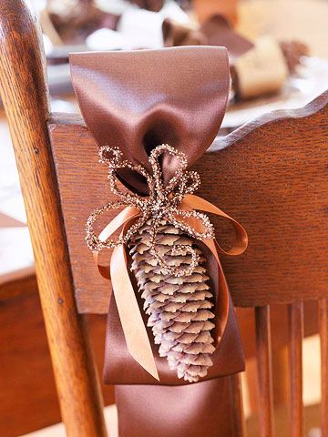 19 Simple Decor Ideas Using Fall Favorites  Create a home that's ready for fall with these lovely arrangements that look great on a table, mantel, chair, and more.: Decorations Pinecone, Decor Ideas, Winter Wedding, Thanksgiving Chair Decorations, Fall Decorating