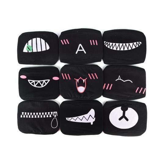 K Pop Mask Mouth Mask Mouth Mask Fashion Black Emoji