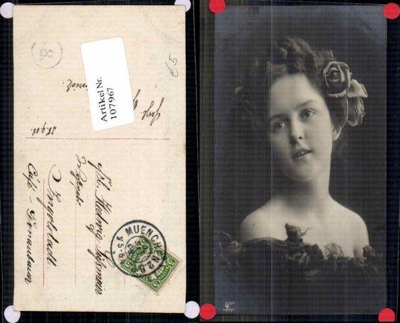 107967;GL Co Edwardian Girl Schöne Frau Rose im Haar Blume Sexy