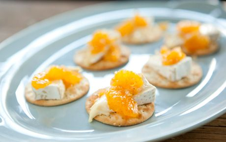 Serve these savory small bites with roasted turkey or spiral sliced ham instead of Brie, if you like. If Clementines are unavailable, substitute with sweet tangerines or canned mandarin oranges, drained thoroughly.