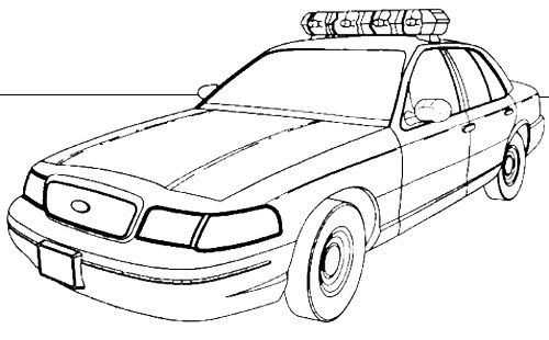 Police Car With PLOD Spelt Out On Roof Coloring Page