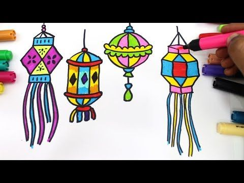 How To Draw Colourful Diya And Lantern For Diwali Wishes Step By Step Very Easily For Kids Youtube Diwali Drawing Diwali Wishes Drawing For Kids