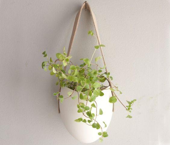 Porcelain and Leather Planter - Farrah Sit