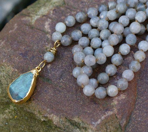 Labradorita collar largo boho - bohemia capas de piedras preciosas joyas semi preciosas elegante, todos los dias de la joyería
